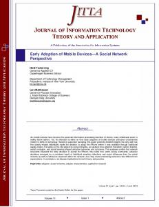 Early Adoption of Mobile Devices A Social Network Perspective