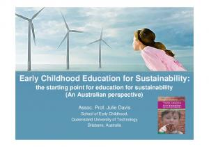 Early Childhood Education for Sustainability:
