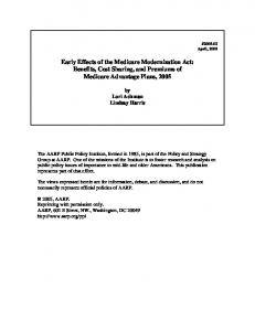 Early Effects of the Medicare Modernization Act: Benefits, Cost Sharing, and Premiums of Medicare Advantage Plans, 2005