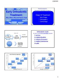 Early Orthodontic. Treatment: Class III Treatment. Orthodontic Goals: For Class III camouflage-prioritization required