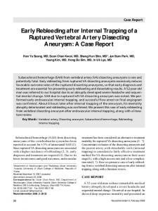 Early Rebleeding after Internal Trapping of a Ruptured Vertebral Artery Dissecting Aneurysm: A Case Report