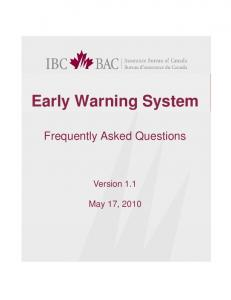 Early Warning System. Frequently Asked Questions. Version 1.1