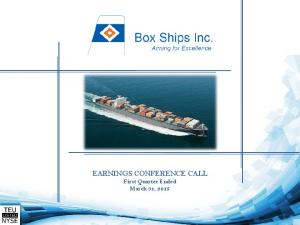 EARNINGS CONFERENCE CALL First Quarter Ended March 31, 2015