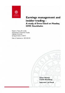 Earnings management and insider trading A study of firms listed on Nasdaq