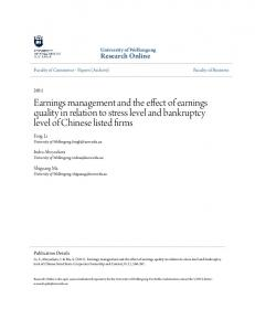 Earnings management and the effect of earnings quality in relation to stress level and bankruptcy level of Chinese listed firms