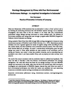 Earnings Management by Firms with Poor Environmental Performance Ratings: An empirical Investigation in Indonesia 1