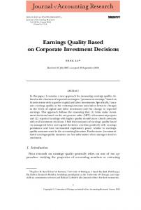 Earnings Quality Based on Corporate Investment Decisions