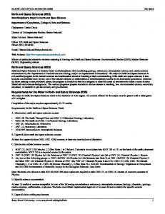 Earth and Space Sciences (ESS) Earth and Space Sciences (ESS) Requirements for the Major in Earth and Space Sciences (ESS)