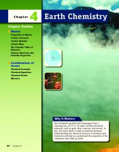 Earth Chemistry. Chapter Outline. Chapter. Matter. Combinations of Atoms. Why It Matters
