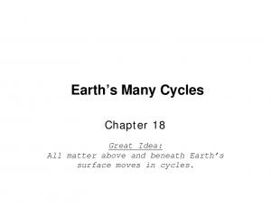 Earth s Many Cycles. Chapter 18. Great Idea: All matter above and beneath Earth s surface moves in cycles