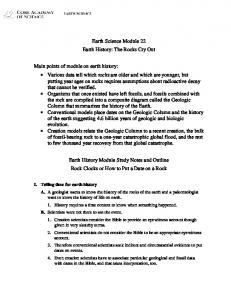 Earth Science Module 22 Earth History: The Rocks Cry Out