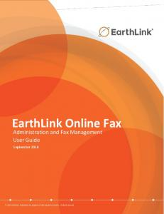EarthLink Online Fax. Administration and Fax Management User Guide