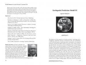 Earthquake Prediction Model III