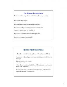 Earthquake Preparedness HOME PREPAREDNESS