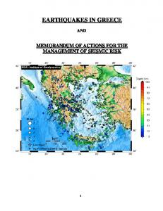 EARTHQUAKES IN GREECE AND