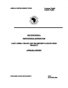EAST AFRICA TRADE AND TRANSPORT FACILITATION PROJECT