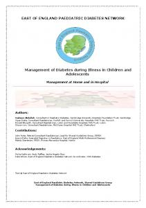 EAST OF ENGLAND PAEDIATRIC DIABETES NETWORK. Management of Diabetes during Illness in Children and Adolescents