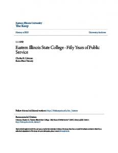 Eastern Illinois State College - Fifty Years of Public Service