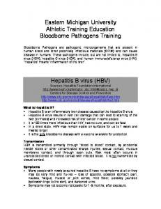 Eastern Michigan University Athletic Training Education Bloodborne Pathogens Training. Hepatitis B virus (HBV)