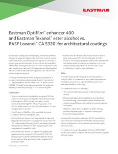 Eastman Optifilm enhancer 400 and Eastman Texanol ester alcohol vs. BASF Loxanol CA 5320 * for architectural coatings