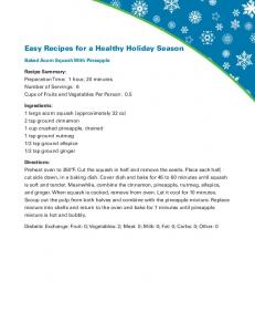 Easy Recipes for a Healthy Holiday Season