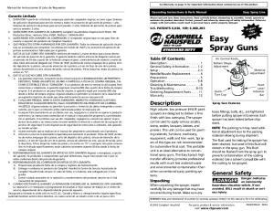 Easy Spray Guns. Description. General Safety