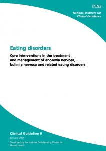 Eating disorders. Core interventions in the treatment and management of anorexia nervosa, bulimia nervosa and related eating disorders