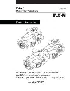 Eaton Medium Duty Piston Pump. Parts Information