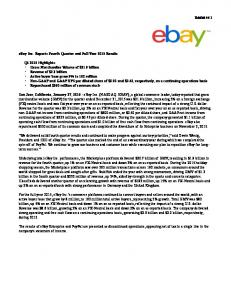 ebay Inc. Reports Fourth Quarter and Full Year 2015 Results