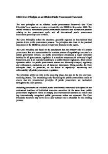 EBRD Core Principles on an Efficient Public Procurement Framework