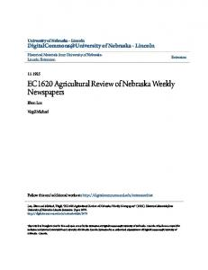 EC1620 Agricultural Review of Nebraska Weekly Newspapers