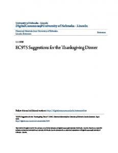 EC975 Suggestions for the Thanksgiving Dinner