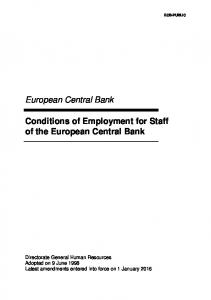 ECB-PUBLIC. European Central Bank. Conditions of Employment for Staff of the European Central Bank