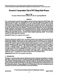 Eccentric Compression Test of WT Shape Steel Braces