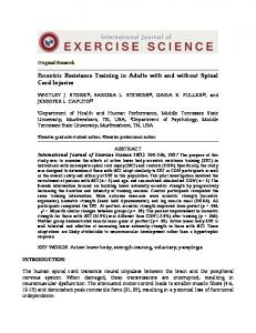 Eccentric Resistance Training in Adults with and without Spinal Cord Injuries