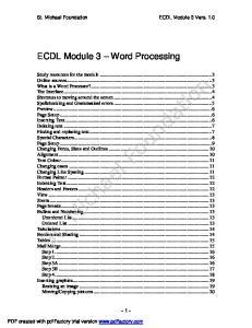 ECDL Module 3 Word Processing