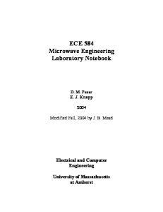 ECE 584 Microwave Engineering Laboratory Notebook