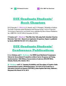 ECE Graduate Students Book Chapters. ECE Graduate Students Conference Publications
