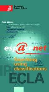 ECLA. Searching using classifications. European Patent Office. Free access