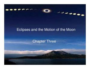Eclipses and the Motion of the Moon. Chapter Three