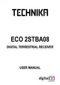 ECO 2STBA08 DIGITAL TERRESTRIAL RECEIVER USER MANUAL