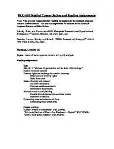 ECO 610 Detailed Course Outline and Reading Assignments: