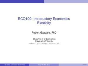 ECO100: Introductory Economics Elasticity