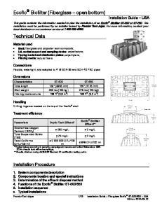 Ecoflo Biofilter (Fiberglass open bottom) Installation Guide USA