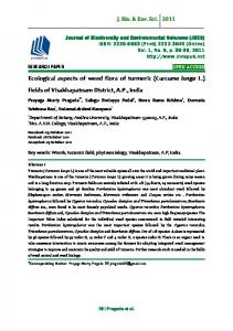 Ecological aspects of weed flora of turmeric (Curcuma longa L.) fields of Visakhapatnam District, A.P., India