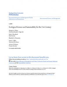 Ecological Science and Sustainability for the 21st Century