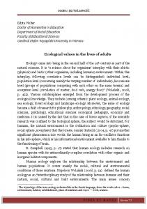 Ecological values in the lives of adults