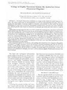 Ecology of Highly Venomous Snakes: the Australian Genus Oxyuranus (Elapidae)