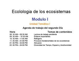 Ecolologia de los ecosistemas
