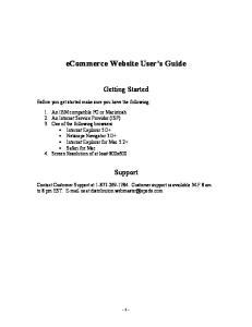 ecommerce Website User s Guide